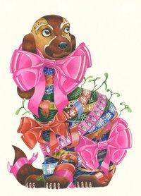 Wenskaart - hond met linten