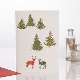 Wenskaart Kerst Two Deer in the Forest