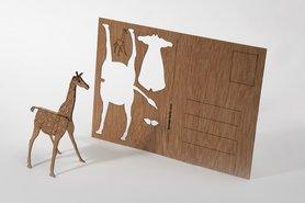 Houten kaart - giraffe