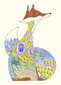 Wenskaart - gele vos