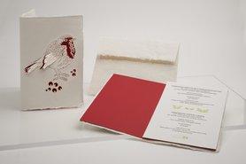 Handgeschept papier - roodborstje