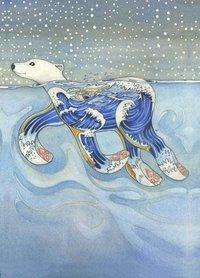 Wenskaart - zwemmende ijsbeer