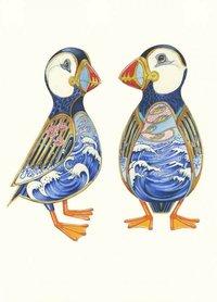 Wenskaart - twee papegaaiduikers