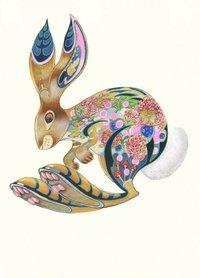 Wenskaart - huppelend konijn