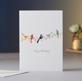 Wenskaart Birds on a Twig Birthday
