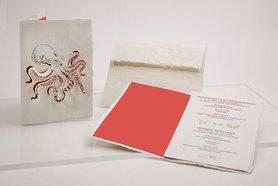 Handgeschept papier - inktvis