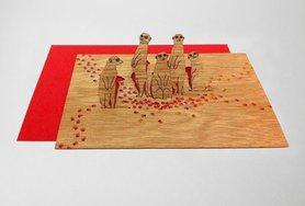 Houten kaart pop-up - stokstaartjes