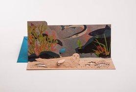 Houten kaart pop-up - zeehond