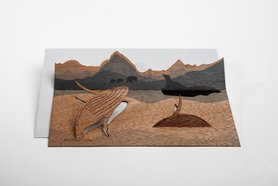 Houten kaart pop-up - walvis