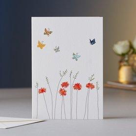 Wenskaart Daisies & Butterflies