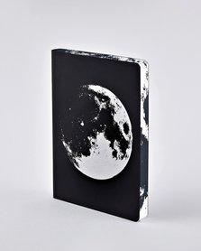 Notitieboek A5 - Moon, zacht leer, zilver metallic print