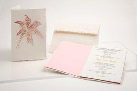 Handgeschept papier - lelie roze