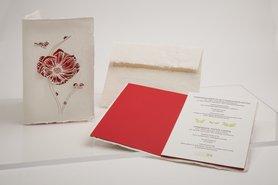 Handgeschept papier - klaproos met lieveheersbeestjes