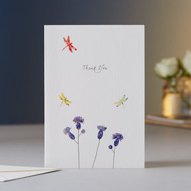 Wenskaart Thistles & Dragonflies Thank You
