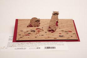 Houten kaart pop-up - wasbeer