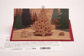 Houten kaart pop-up - kerst in het woud