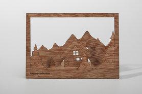 Houten kaart - winter landschap