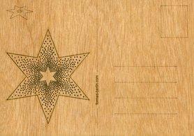 Houten kaart - ster met puntjes