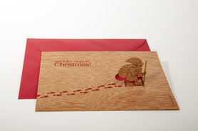 Houten kaart pop-up - Kerstman