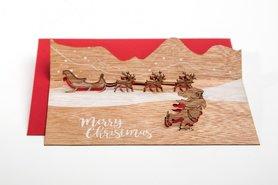 Houten kaart pop-up - Kerstman met slee