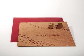 Houten kaart pop-up - Kerstman en rendier