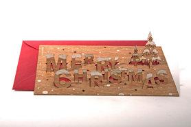 Houten kaart pop-up - Merry Christmas