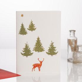 Wenskaart Kerst Stag in the Trees