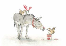 Wenskaart - Red Nose Donkey