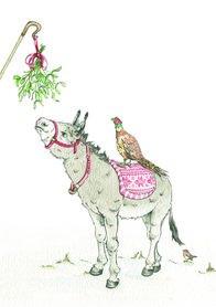 Wenskaart - Mistletoe Donkey