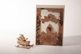 Houten kaart Grand Wooden Assembly - Kerstman met slee