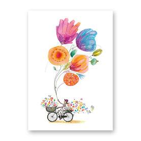 Wenskaart - Floral bike