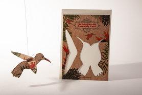 Houten kaart Grand Wooden Assembly - kolibrie