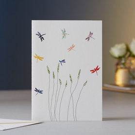 Wenskaart Dragonflies & Grass