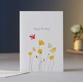 Wenskaart Poppies & Butterfly Birthday