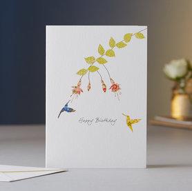 Wenskaart Fuchsia & Two Hummingbirds Birthday