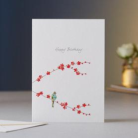 Wenskaart Blossom & One Bird Birthday