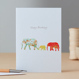 Wenskaart Elephant Family Birthday