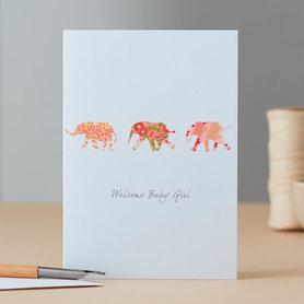 Wenskaart Elephants Baby Girl