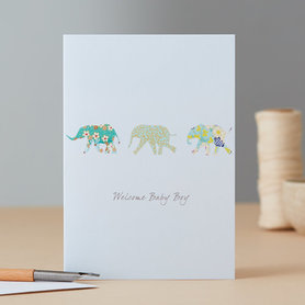 Wenskaart Elephants Baby Boy