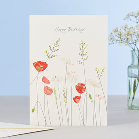 Wenskaart Poppies & Daisies Birthday