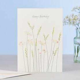 Wenskaart Daisies & Grass Birthday