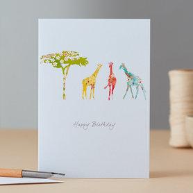 Wenskaart Giraffe & Tree Birthday