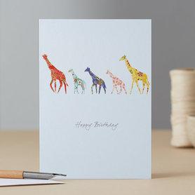 Wenskaart Giraffe Tower Birthday