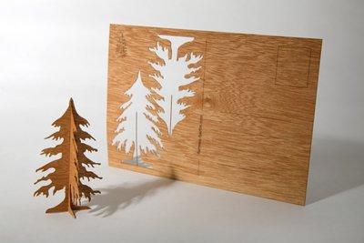 Houten kaart - dennenboom