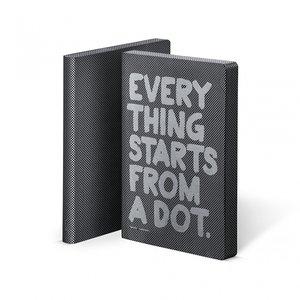 Notitieboek A5 - Everything Starts from a dot, zacht leer, zilver metallic tekst