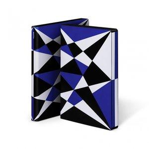 Notitieboek A5 - Kaleidoscope, zacht leer, zwart en blauwe print
