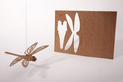 Houten kaart - libelle