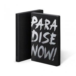 Notitieboek A5 - Paradise Now, zacht leer, zilver metallic tekst