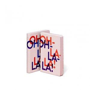 Notitieboek A6 - Oh La La, zacht leer, blauwe en rode tekst