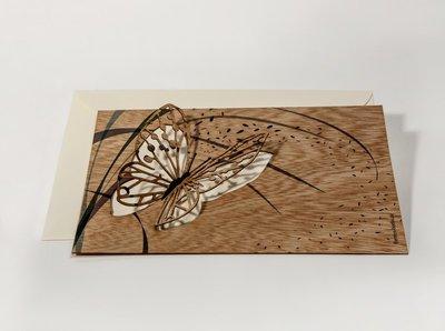 Houten kaart pop-up - vlinder